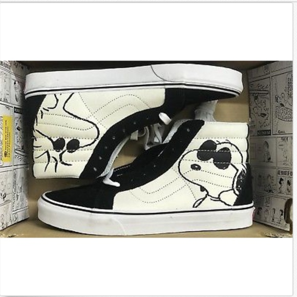 1fb77a7c40 Vans Sk8 Hi Reissue Peanuts Joe Cool Black Shoes